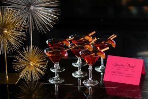 pink and black menu card wedding bar signature cocktail red