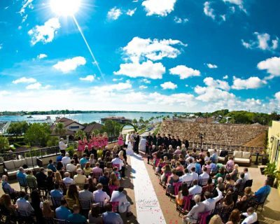 Outdoor wedding ceremony location in St. Augustine Florida at The White Room rooftop.