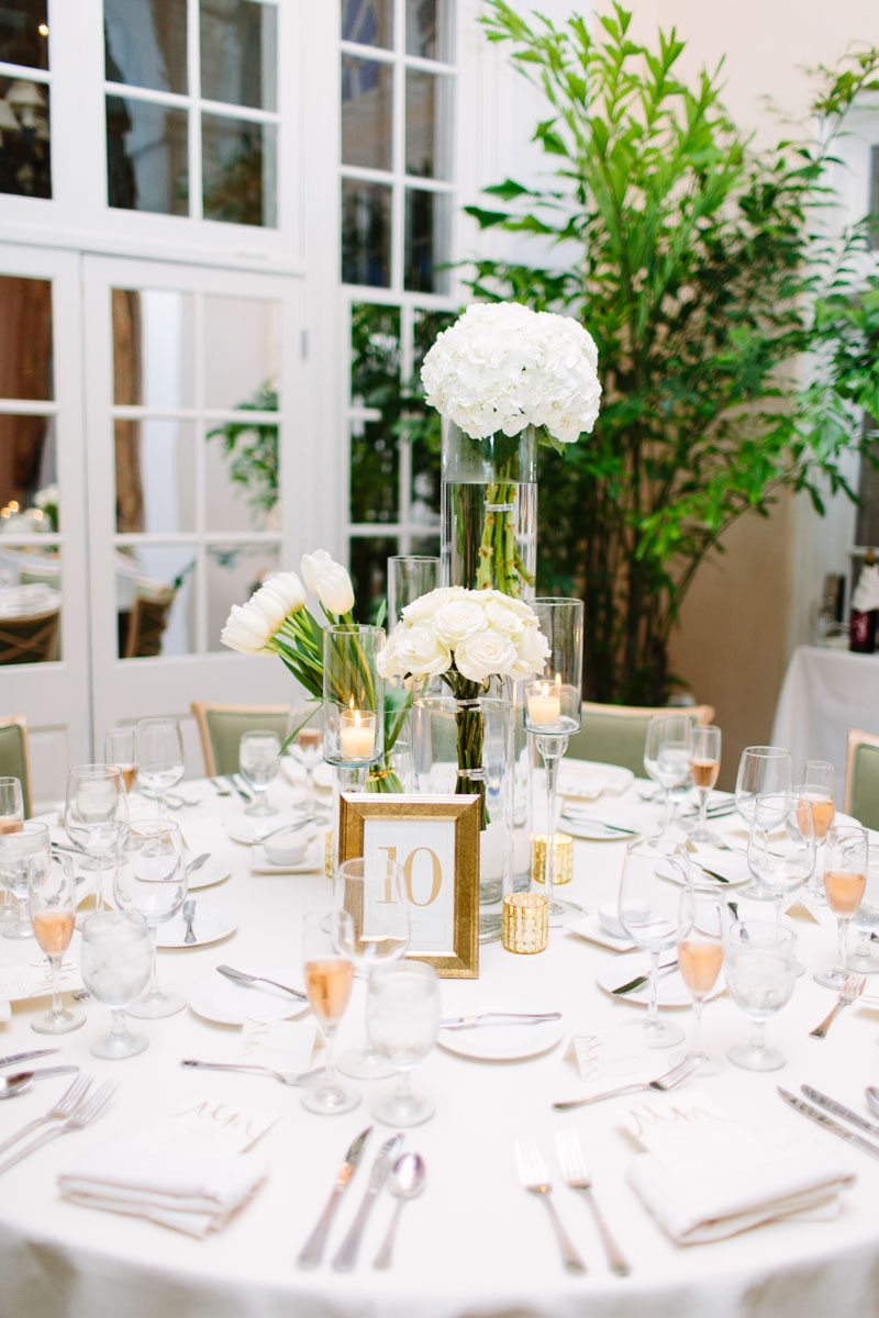 Monochromatic White Reception Centerpieces Varying Heights Mountain ...