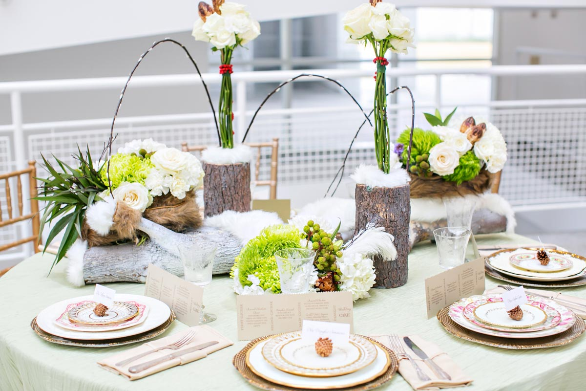 Winter Wedding Table Ideas Wood Fur Pinecones Michelle Davina