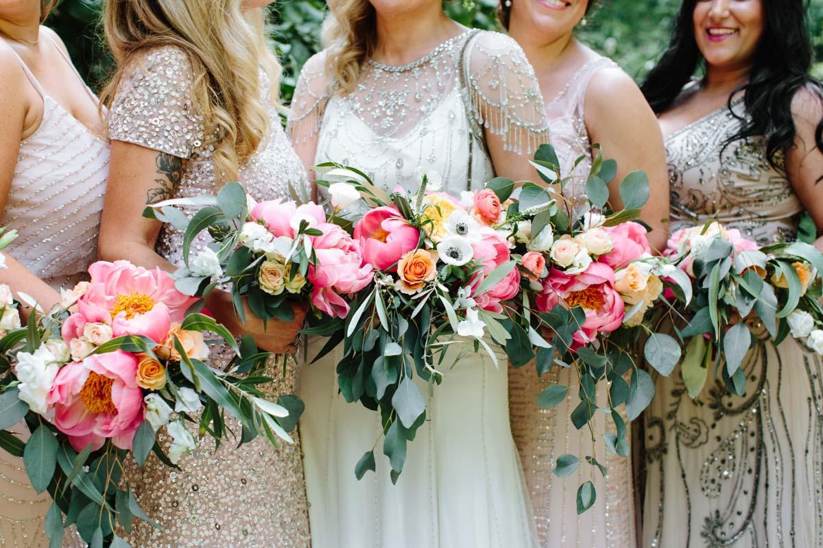 coral-charm-peony-eucalyptus-garden-wedding-bouquets