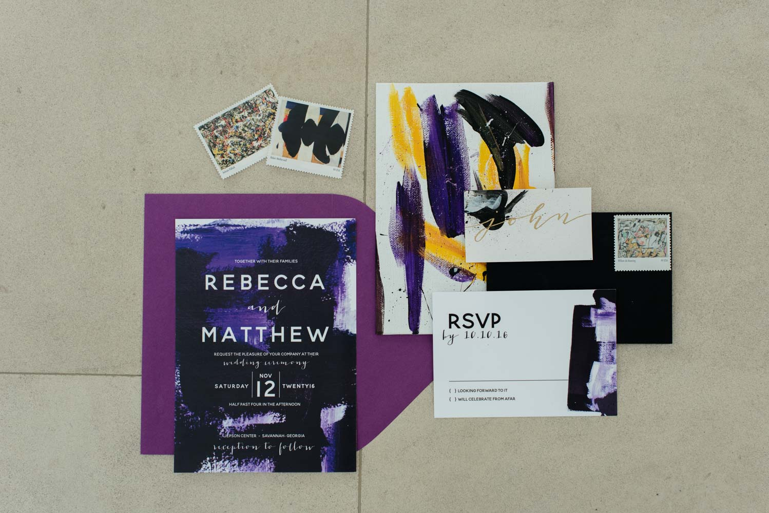 dark-purple-yellow-artistic-invitations-caroline-evan-jepson-center-48
