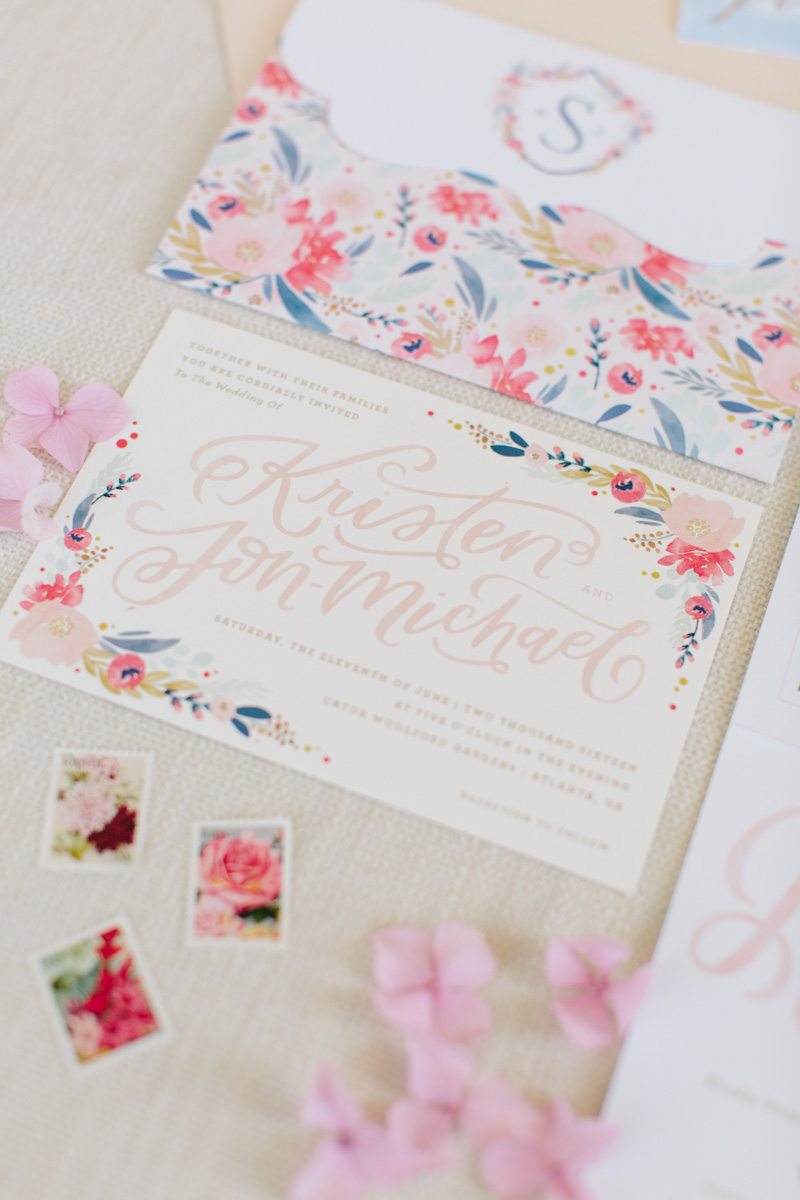 custom-calligraphy-floral-watercolor-wedding-invitation
