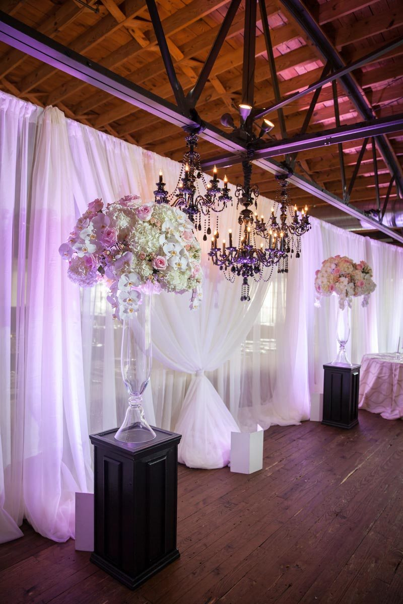 Black Chandelier Pipe Drape Wedding Ceremony Setup_Summerour ...