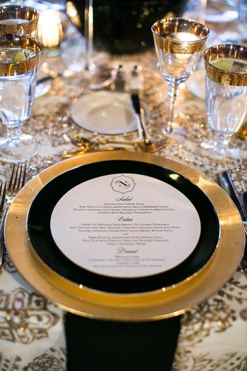 Black Gold Wedding Reception Placesetting Summerour Studio