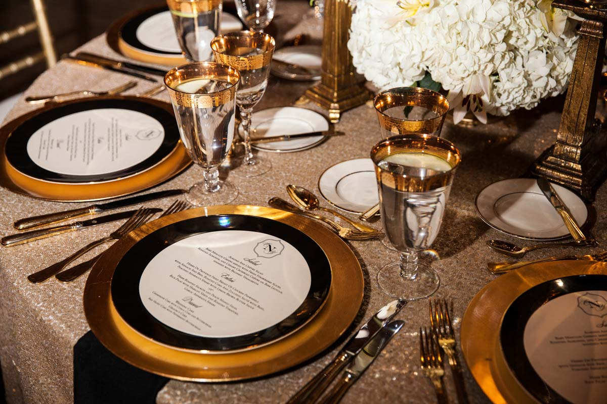 Black Gold Wedding Reception Table Setting Decor_Summerour Studio ...