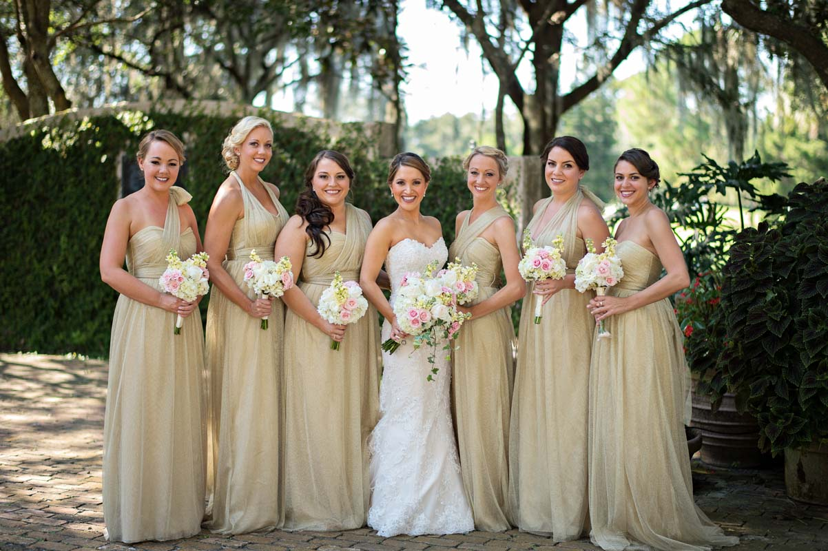 Bridesmaid Dresses In Neutrals Champagne Beige And Pale: Gorgeous Greenery-Filled Wedding At Casa Feliz In Winter