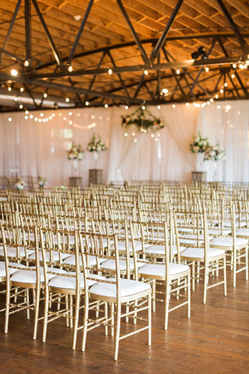 Gold Chiavari Chair Wedding Ceremony Setup Summerour Studio Rustic White Photography
