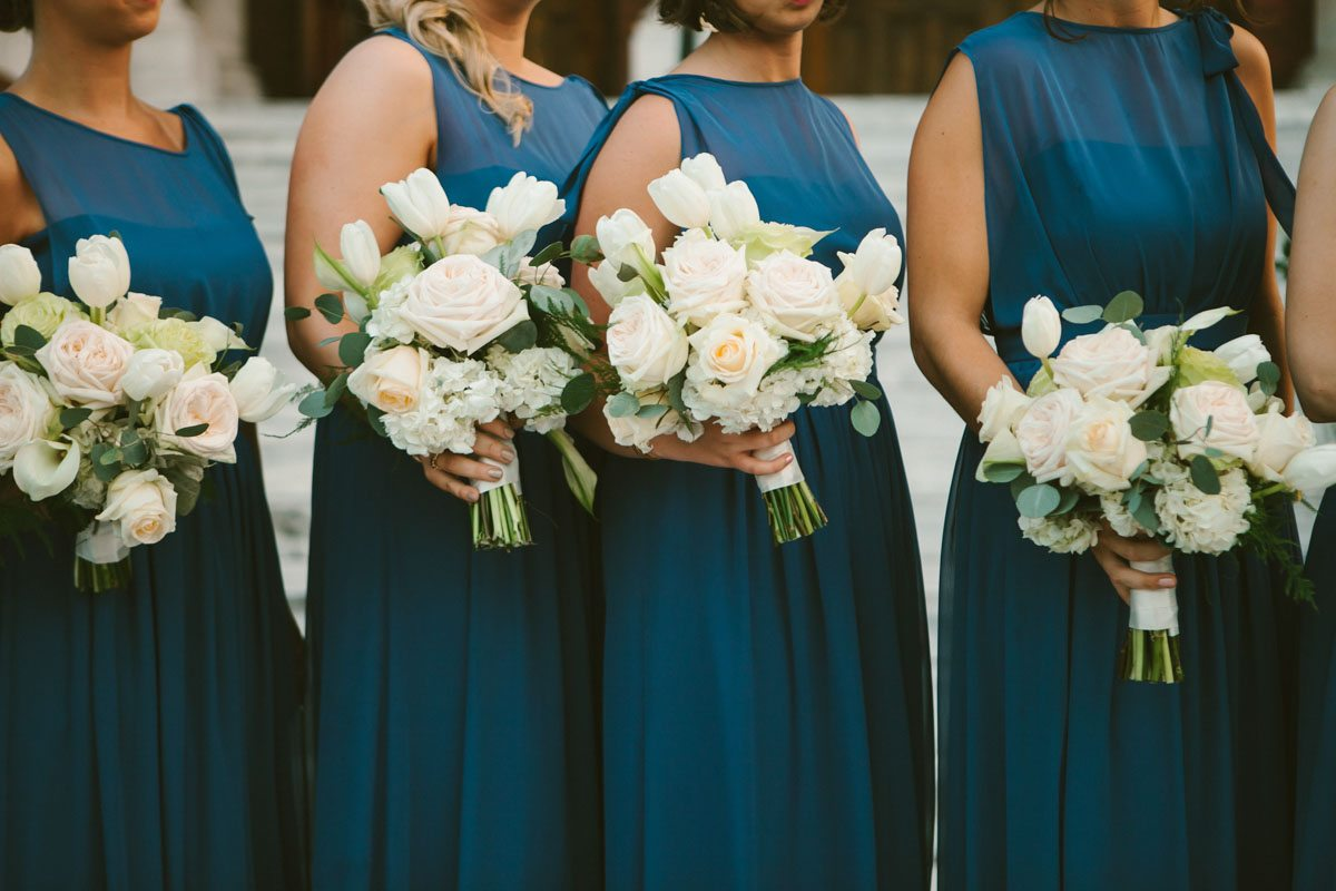 slate blue bridesmaid dresses white bouquets tulip hydrangea garden rose eucalyptus_mark williams studio
