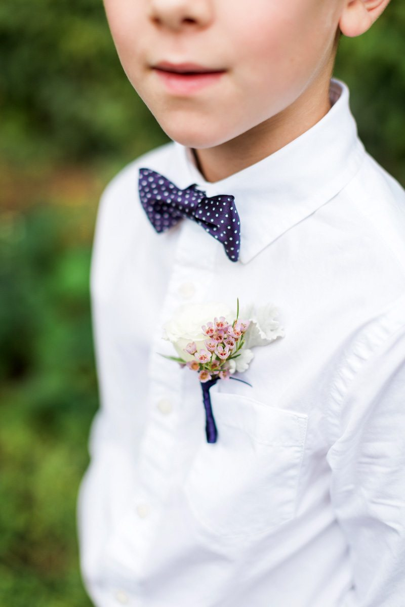 Wax Flower Ring Bearer Boutonniere Summerour Studio Rustic White Photography