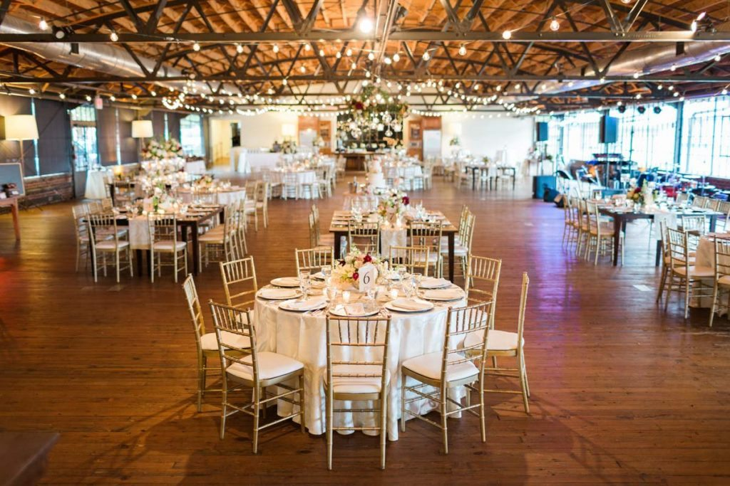 Reclaimed Wood Flower Stands Wedding Ceremony Setup