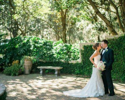 casa feliz courtyard bride groom first look