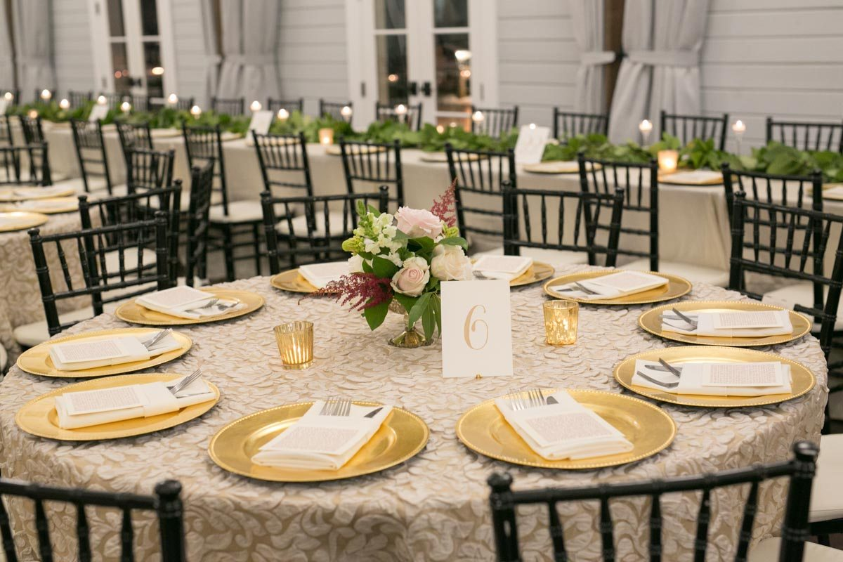 Gold Charger Wedding Reception Table Setup Foxhall Resort Shauna Veasey Photography