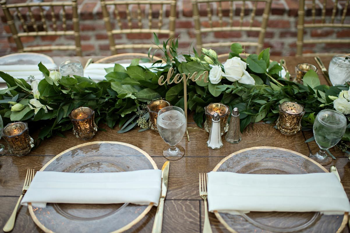 gold table number dense greenery table runner center piece wedding ...