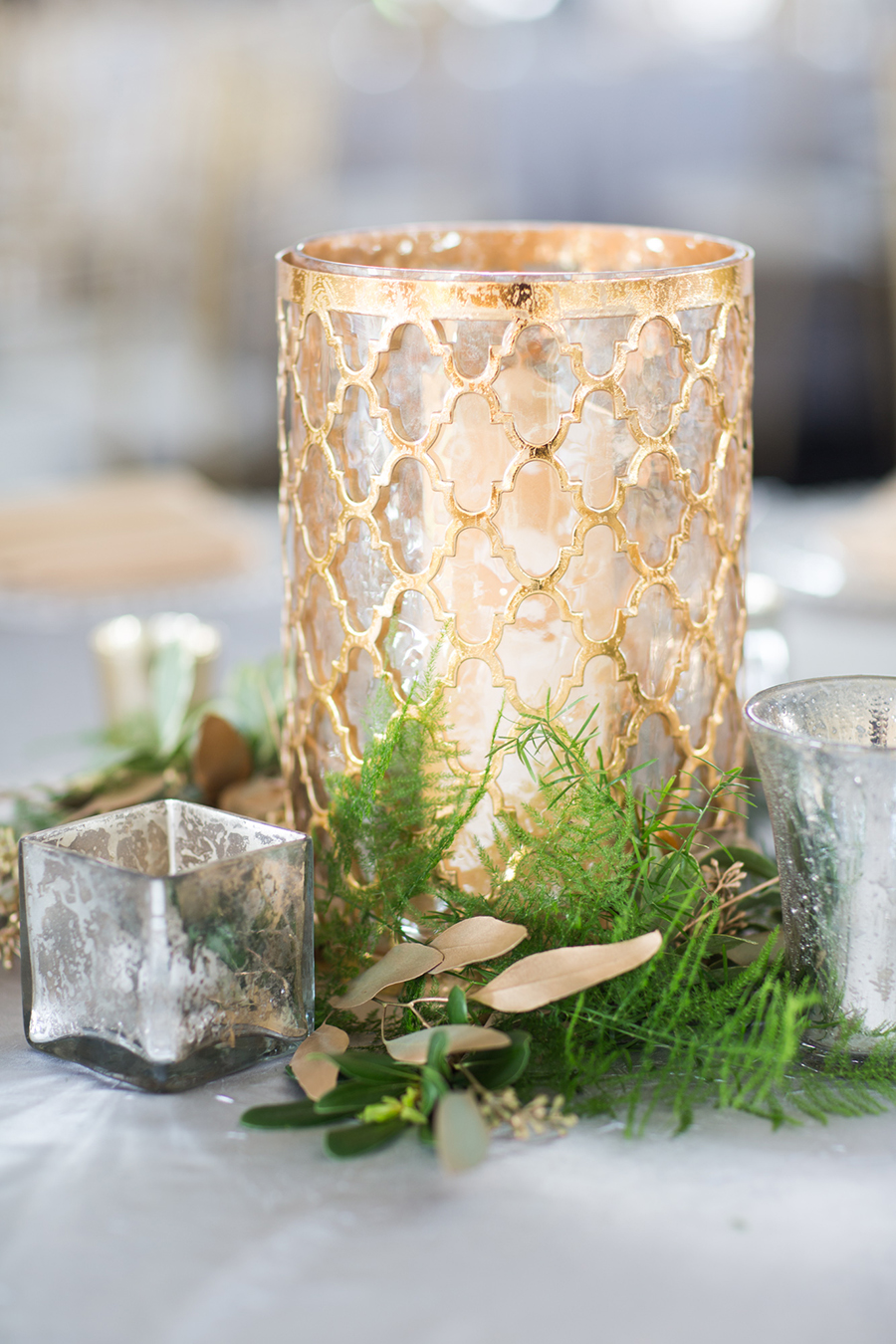 Gold wedding candle centerpieces