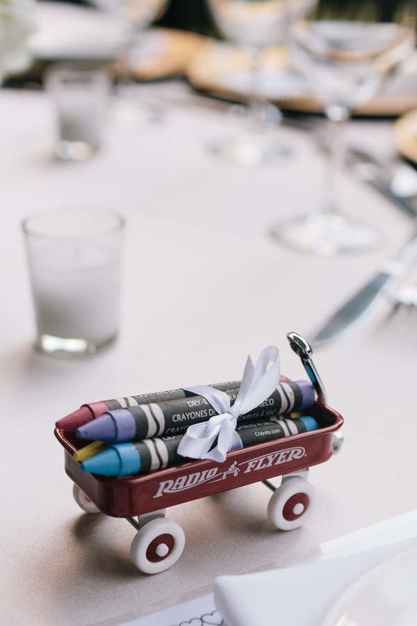 Crayons and wagon wedding favor for kids