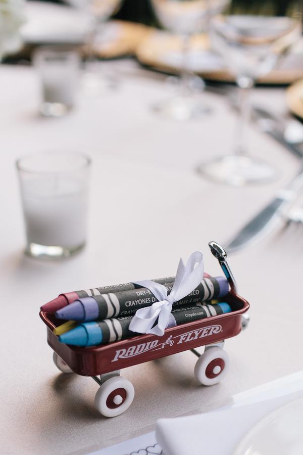 Crayons and wagon wedding favor for kids