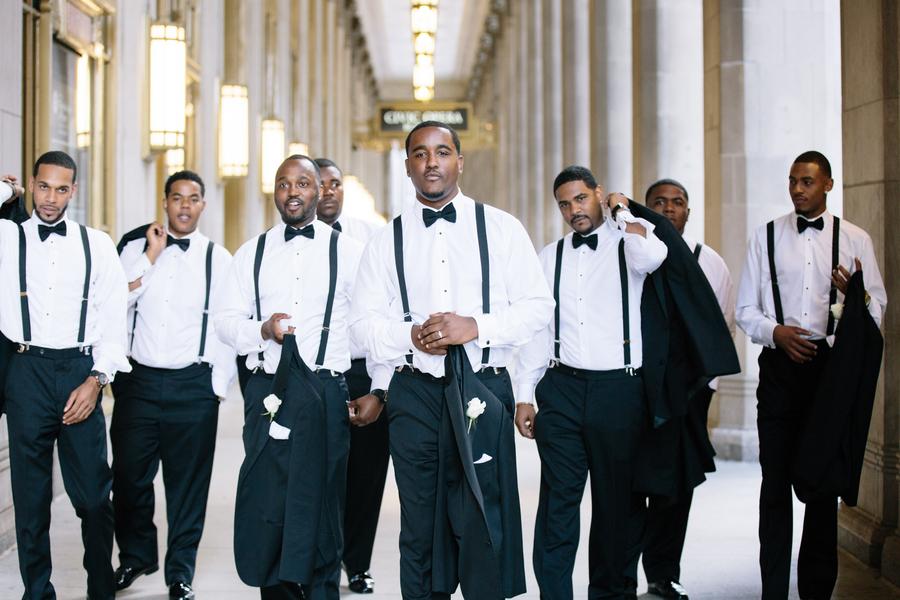 Rivers Restaurant Chicago groomsmen in formalwear