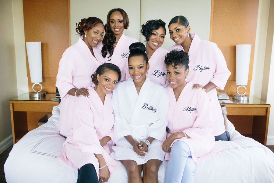 Bridesmaids in personalized robes
