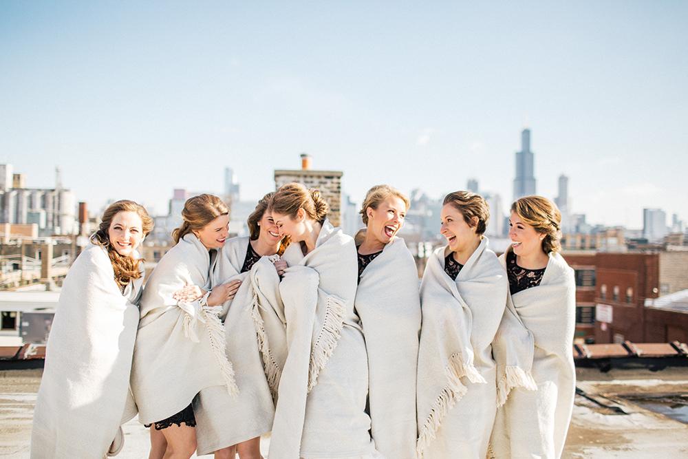 Bridesmaids in winter wedding apparel