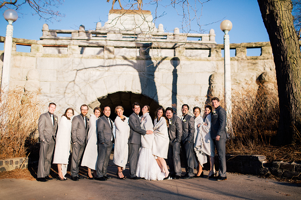 Chicago bridal party in cream and gray