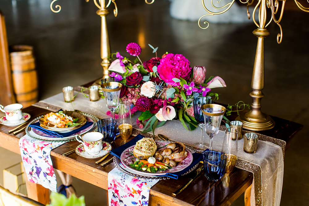 Rustic glam sangria, berry, navy and gold styled shoot