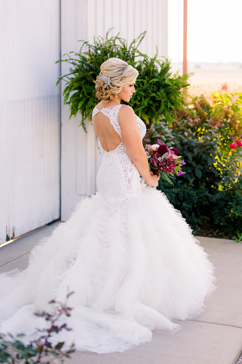 Flufffy lace Lazaro wedding gown