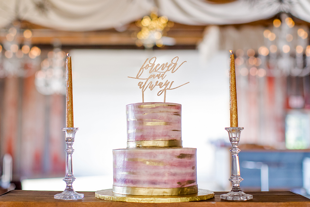 Pink and gold marbleized wedding cake