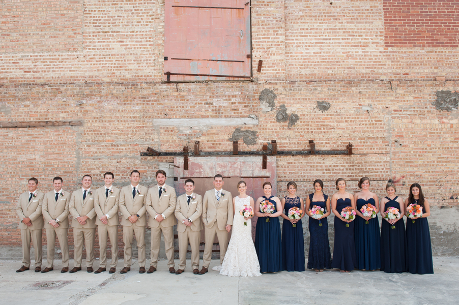 Navy and cream bridal party