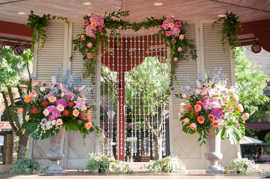 Crystal and floral wedding ceremony decor