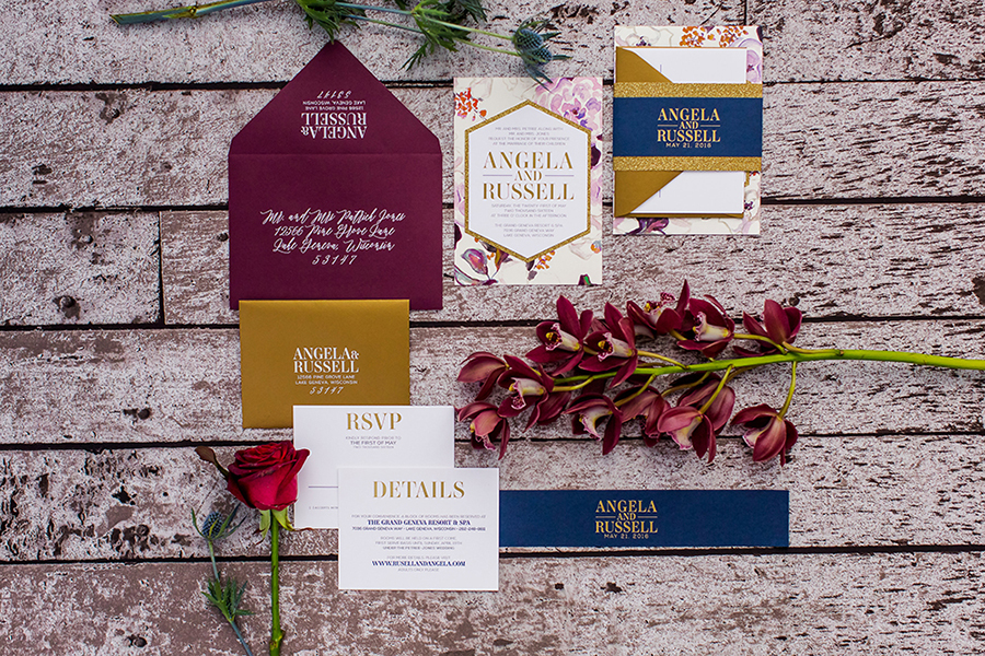 Sangria, navy and gold wedding invitation suite