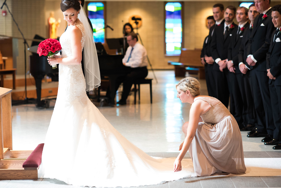 Bride at alter in beautiful gown