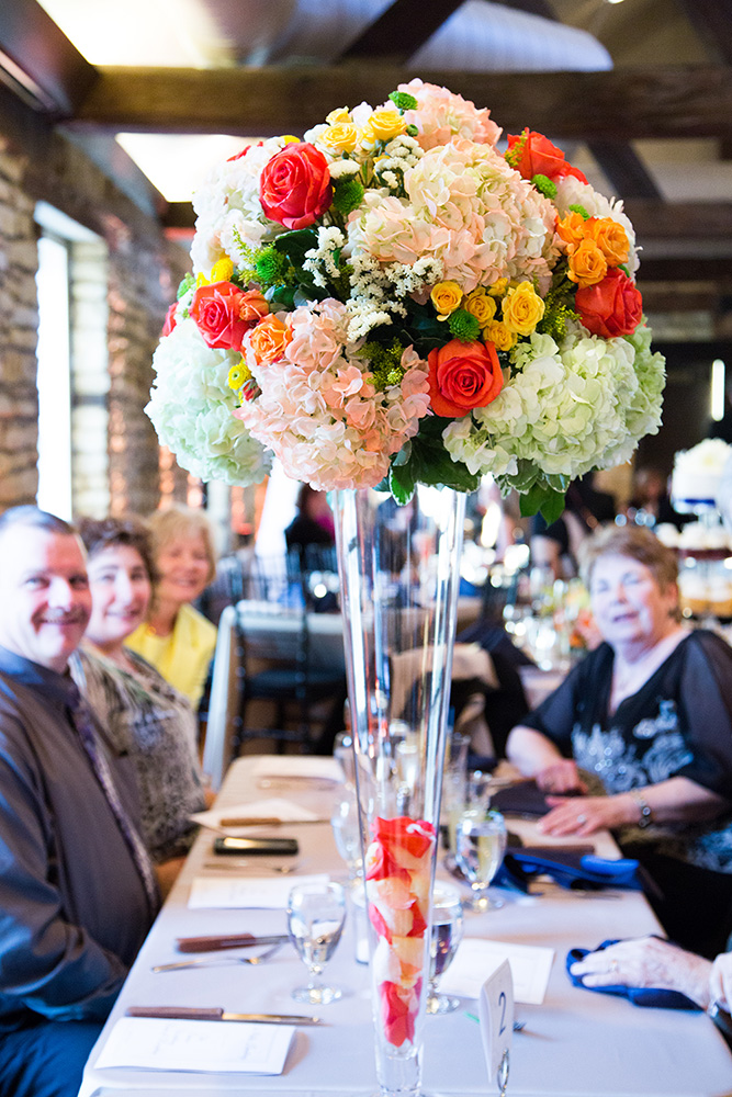 Tall colorful wedding centerpieces