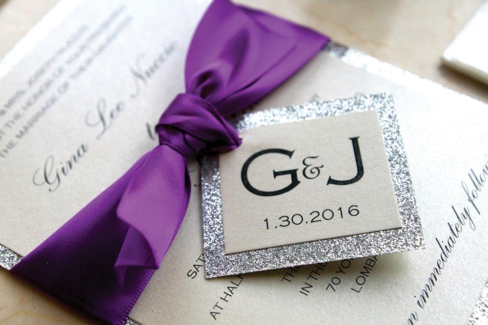 Purple and silver wedding invitations