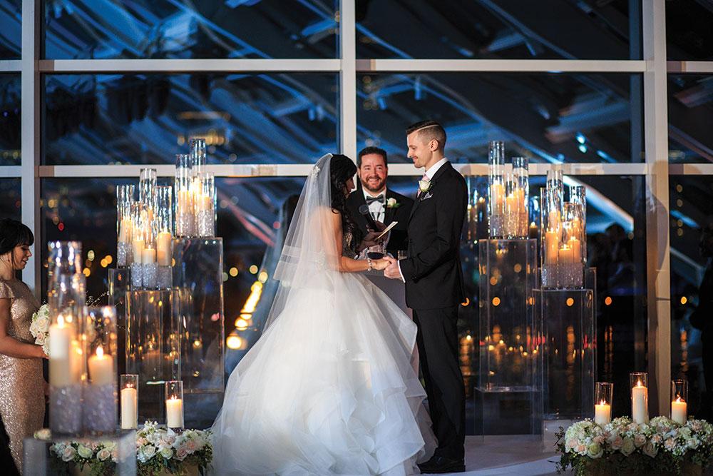 Romantic Adler Planetarium wedding
