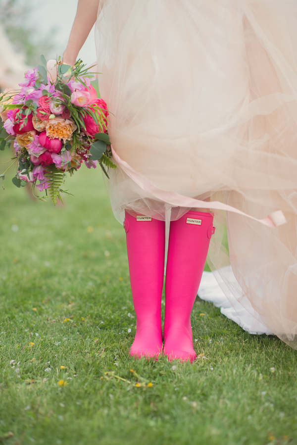 Bright wedding bouquet and uggs