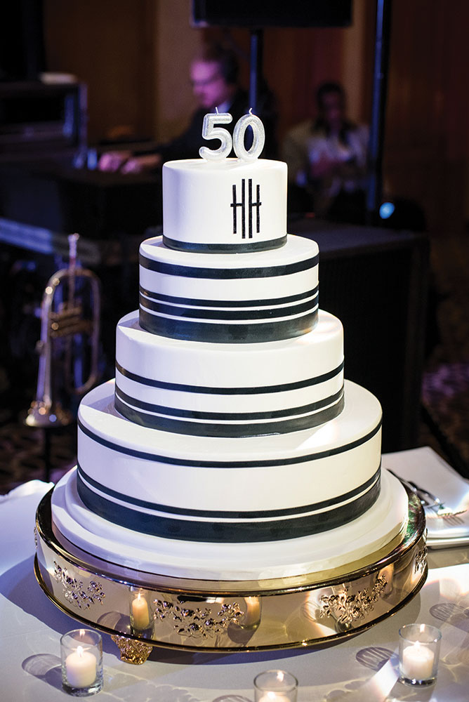 Black and white wedding birthday cake