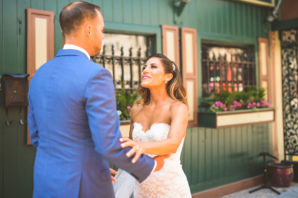 adorable first look wedding photo