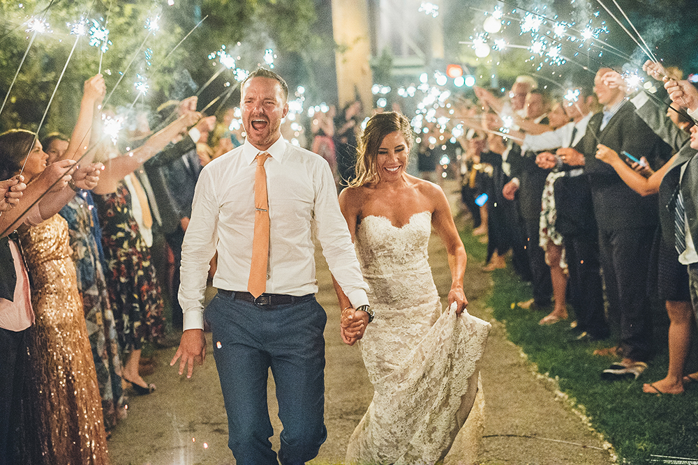 Wedding sparkler aisle
