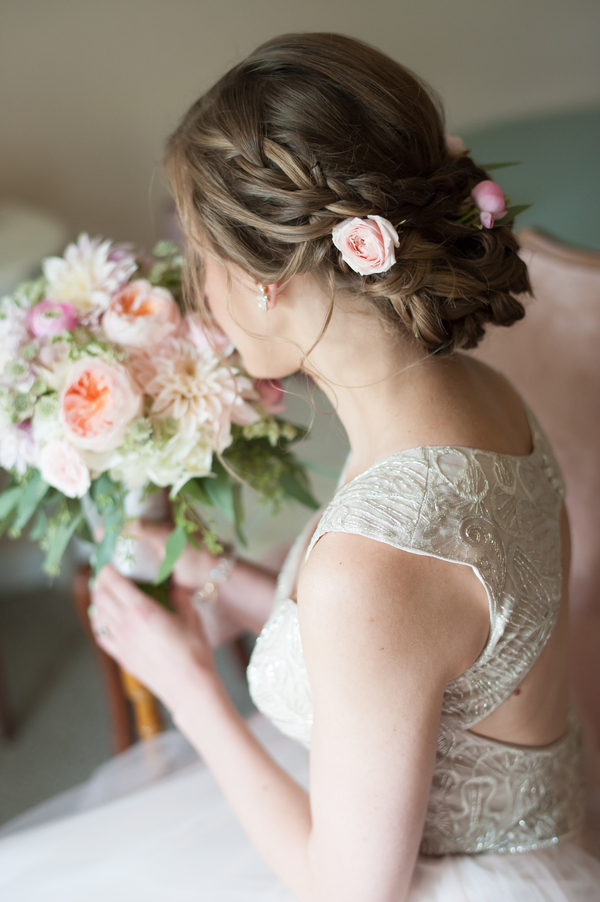 romantic bridal hair with flowers