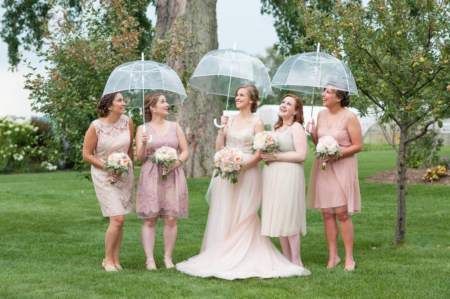 Bridesmaids in the rain