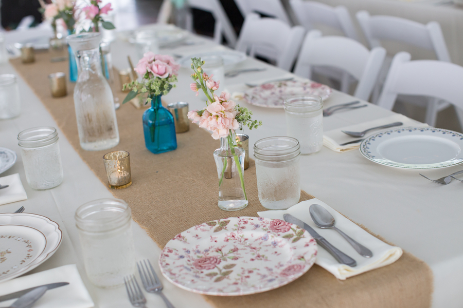 Rustic wedding decor with china