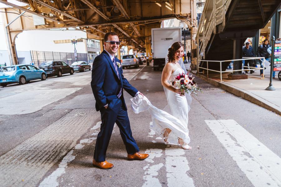 Downtown Chicago wedding walk