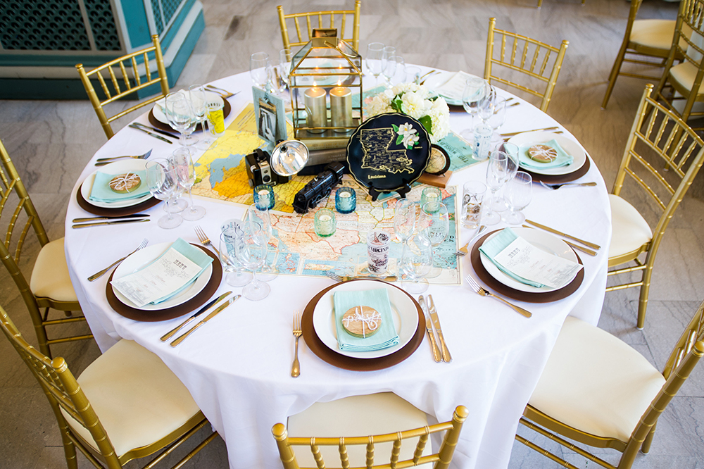 Vintage travel wedding tablescape