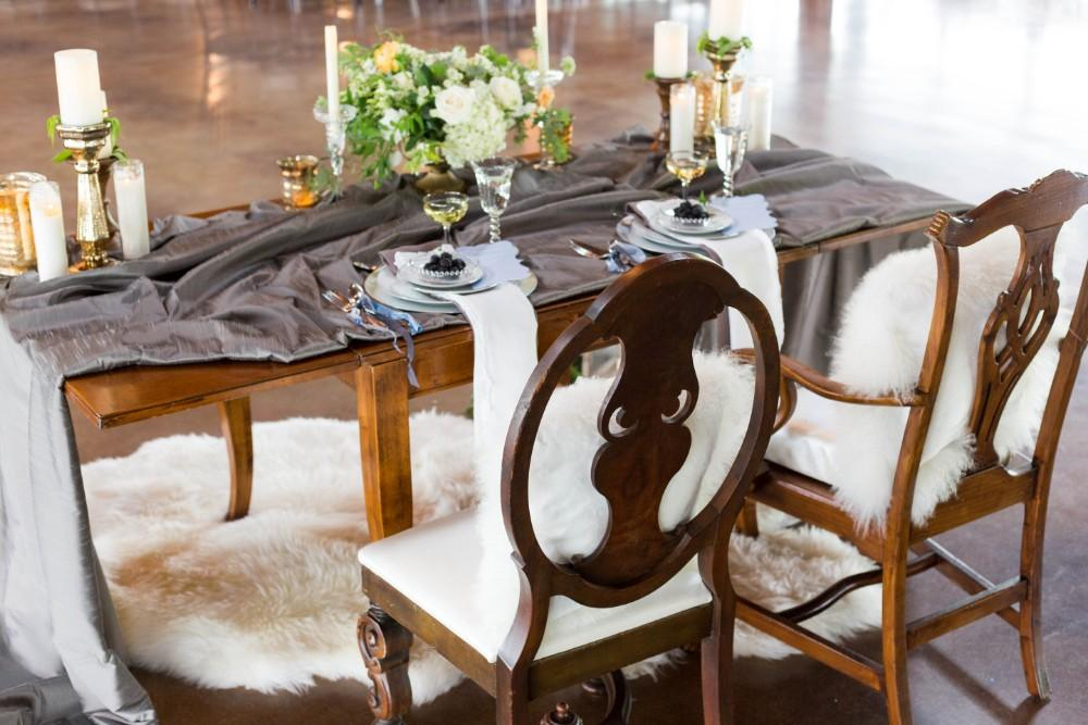 Dusty Blue romance table setting