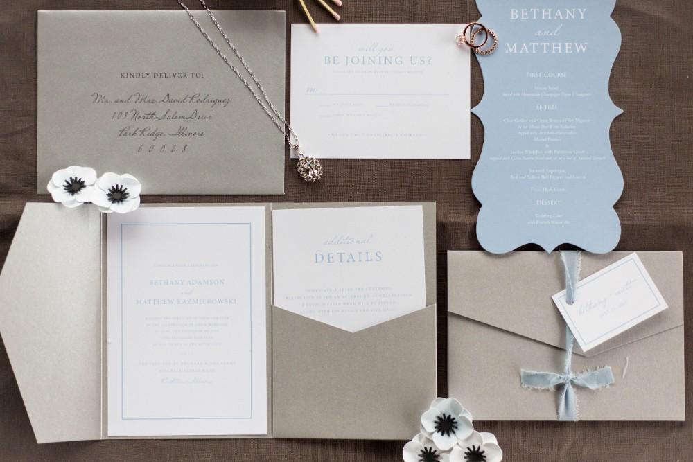 Dusty Blue Romance invitation suite