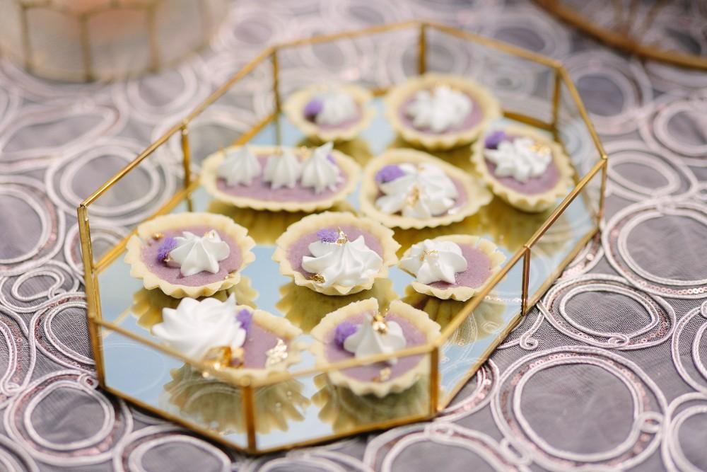 garden party desserts purple