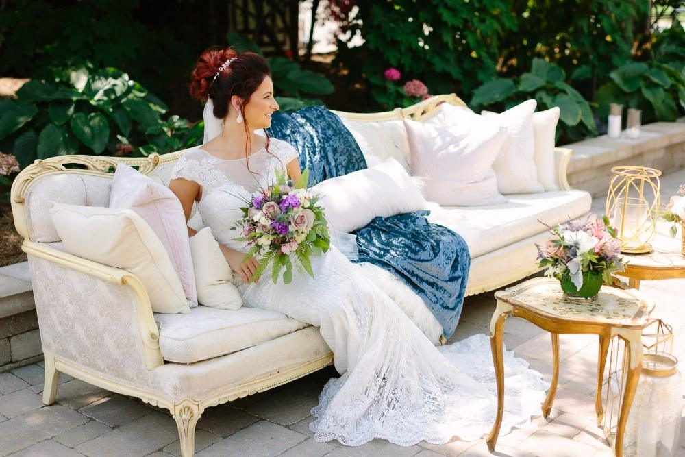 arrowhead styled shoot bride on couch