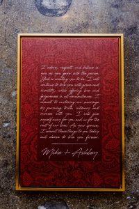 big fake wedding vow art