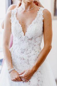 big fake wedding bride getting ready